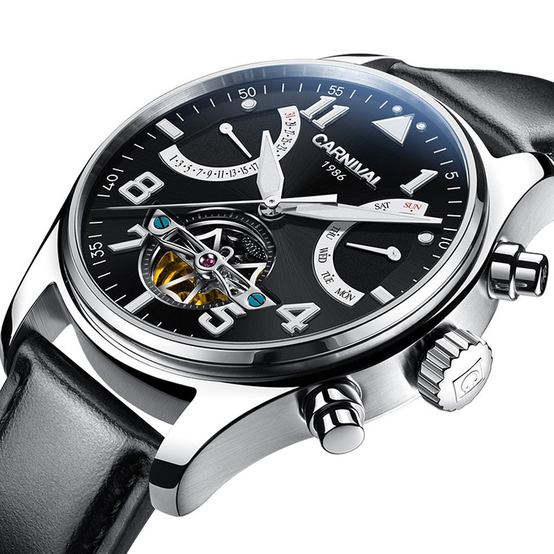 Carnival Automatic Tourbillon Mechanical Watch Men Leather Strap Waterproof Diver Mens Watches Skeleton Pilot Wristwatch relogio