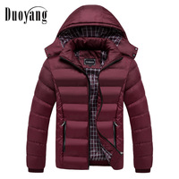 Fashion men's jacket winter solid coats male casual cotton padded down jacket warm zipper basic men coat outerwear with hat 2018