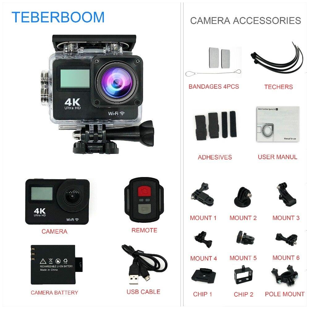 TEBERBOOM S4R Double écran camera Action 4 k Ultra HD 1080 p/30FPS Mini Casque Cam Wifi 2.0 170D étanche Sport