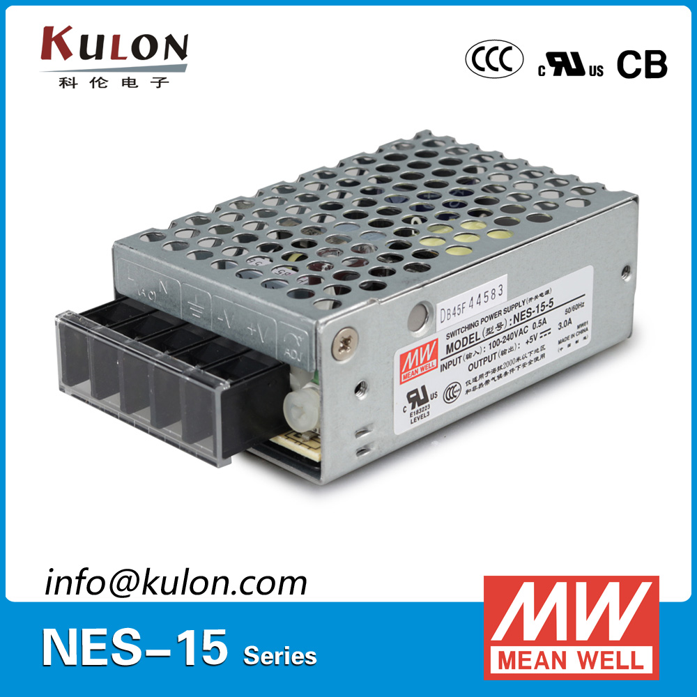 Original MEAN WELL NES-15-5 Single Output 15w 5v 3a Meanwell Power Supply NES-15 CE UL [nc a] mean well original nes 350 7 5 7 5v 46a meanwell nes 350 7 5v 345w single output switching power supply