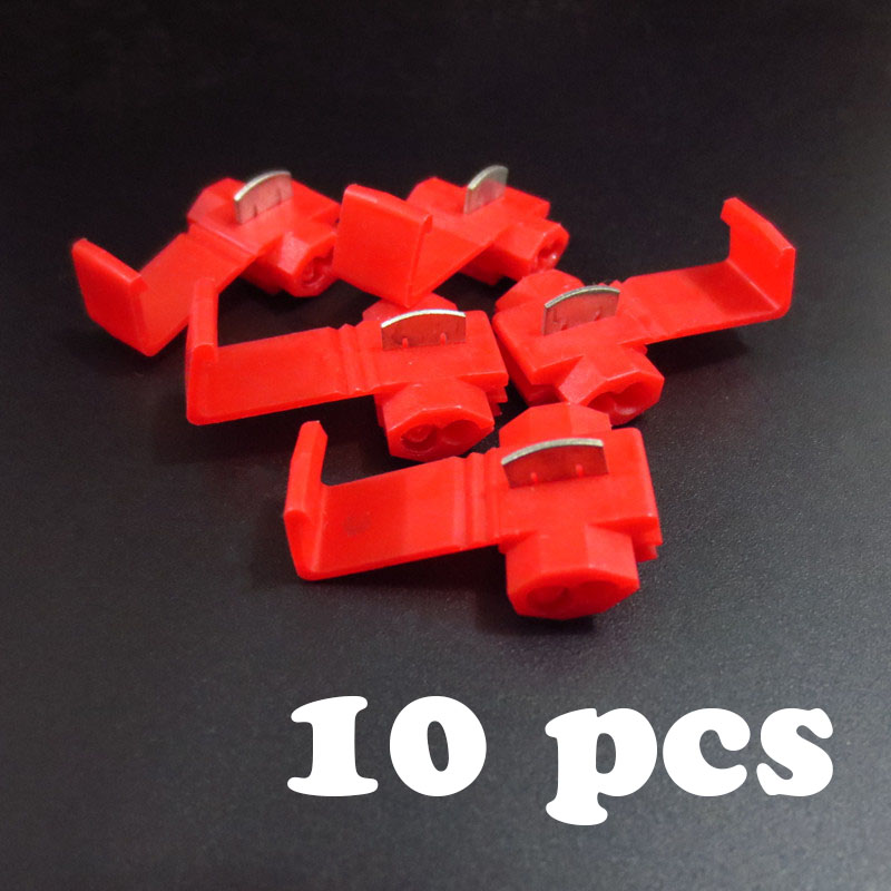 10 pcs Wire  terminals quick wiring connector cable clamp AWG 22-18 801p quick connection clip wire stripping free card buckle quick wire connection clip for logic analyzer test red 10 pcs