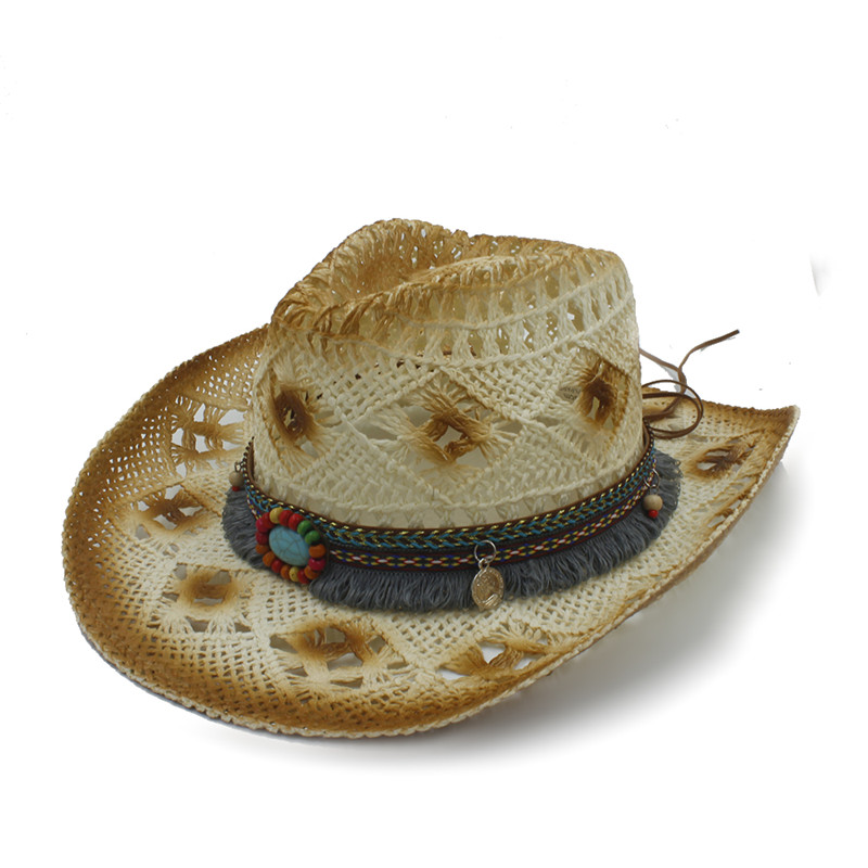 fbe164616378a Women Summer Straw Western Cowboy Hats With Roll Up Brim Tassel Cowgirl  Sombrero Hombre Cap Lady Topi Pria Beach Sun Hat-in Cowboy Hats from  Apparel ...