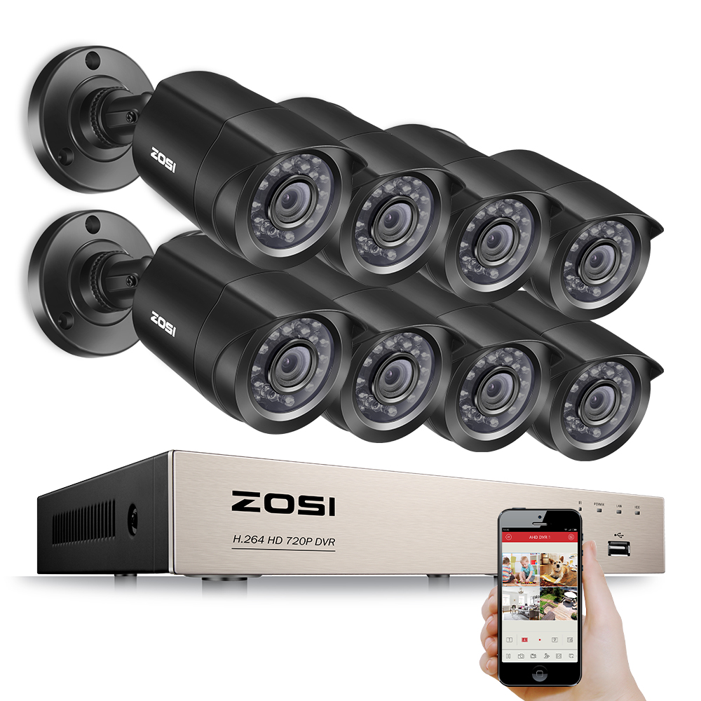 ZOSI 8CH DVR 720P HDMI CCTV System Video Recorder 8PCS 1280TVL Home Security Waterproof Night Vision Camera Surveillance Kits