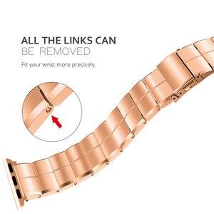 Image 3 - Apple watchband 용 스트랩 38/40mm 42/44mm 스테인레스 스틸 메탈 1 링크 팔찌 smartwatch band for apple watch serise 1 2 3 4 5