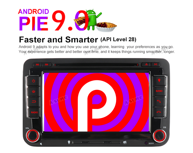 Android 9.0 VW PASSAT TIGUAN Golf 7 2 Din GPS DVD DAB + 60