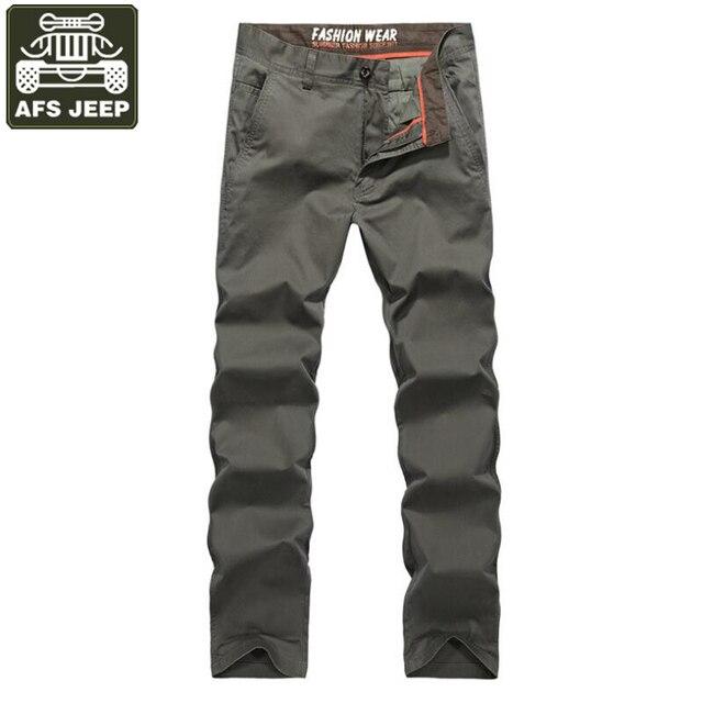 2003ed9b8 AFS JEEP 2018 marca Pantalones para Hombre ocio Straight Cargo Pantalones  hombres Multi bolsillos Pantalones de