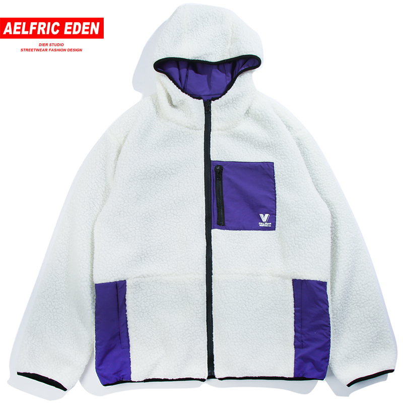 Aelfric Eden Les Deux Côtés Cachemire Vestes Manteaux Couleur Bloc Hiver Chaud Épais Baseball Réversible Veste Casual Streetwear Mt25
