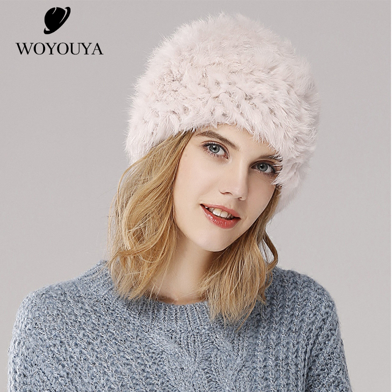 Décontracté mode femmes fourrure chapeaux classique lapin fourrure chapeau chaud hiver chapeaux pour femmes haute qualité tricoté fourrure chapeau solide lapin