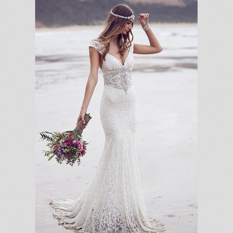 romantic bohemian wedding dresses 2016 deep v neck cap sleeve lace bridal dress crystal beading waist