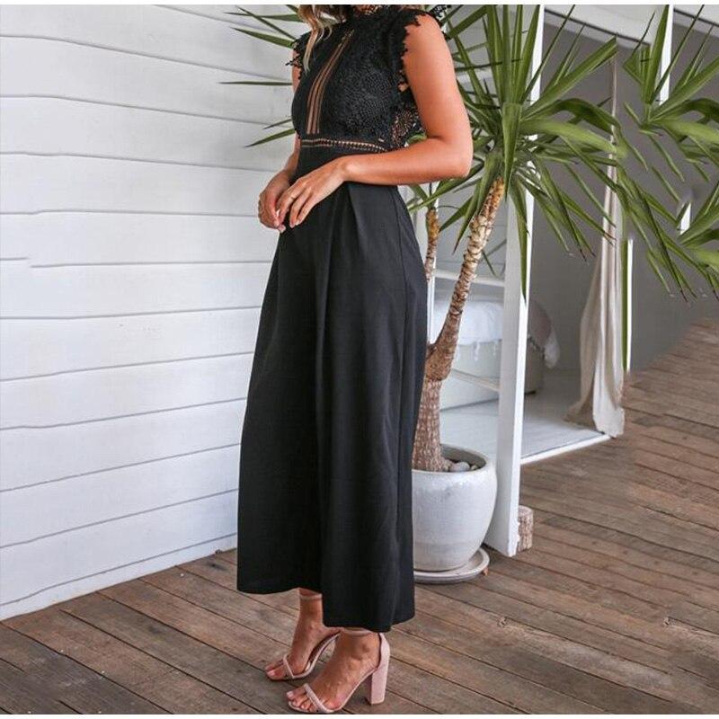 Black White Lace Hollow Out Wide Leg Jumpsuit 2