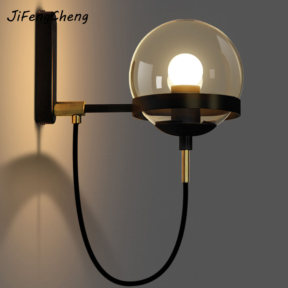 JiFengCheng Hotel Lobby Retro Wall Lamp Modern Retro American Restaurant Cognac Glass Ball Bronze Wall Lamp