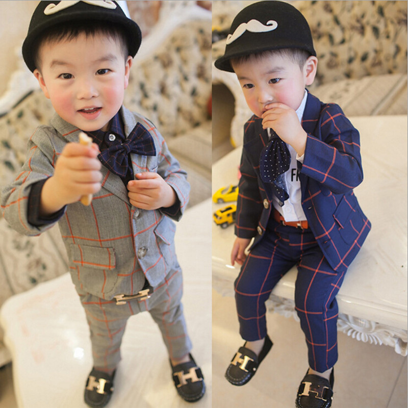 2018 New Children Clothing Set England Gentleman Boys Party Wedding Suits Baby Boy Formal Plaid Long-Sleeved Sets Kids Clothes