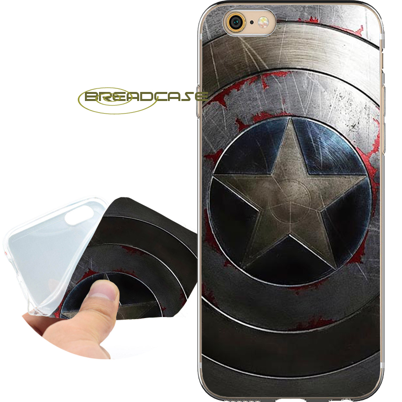 Captain America Shield Phone Case for iPhone 10 X 8 7 6S 6 Plus 5S SE 5 5C 4S 4 iPod Touch 6 5 Soft Clear TPU Silicone Cover.