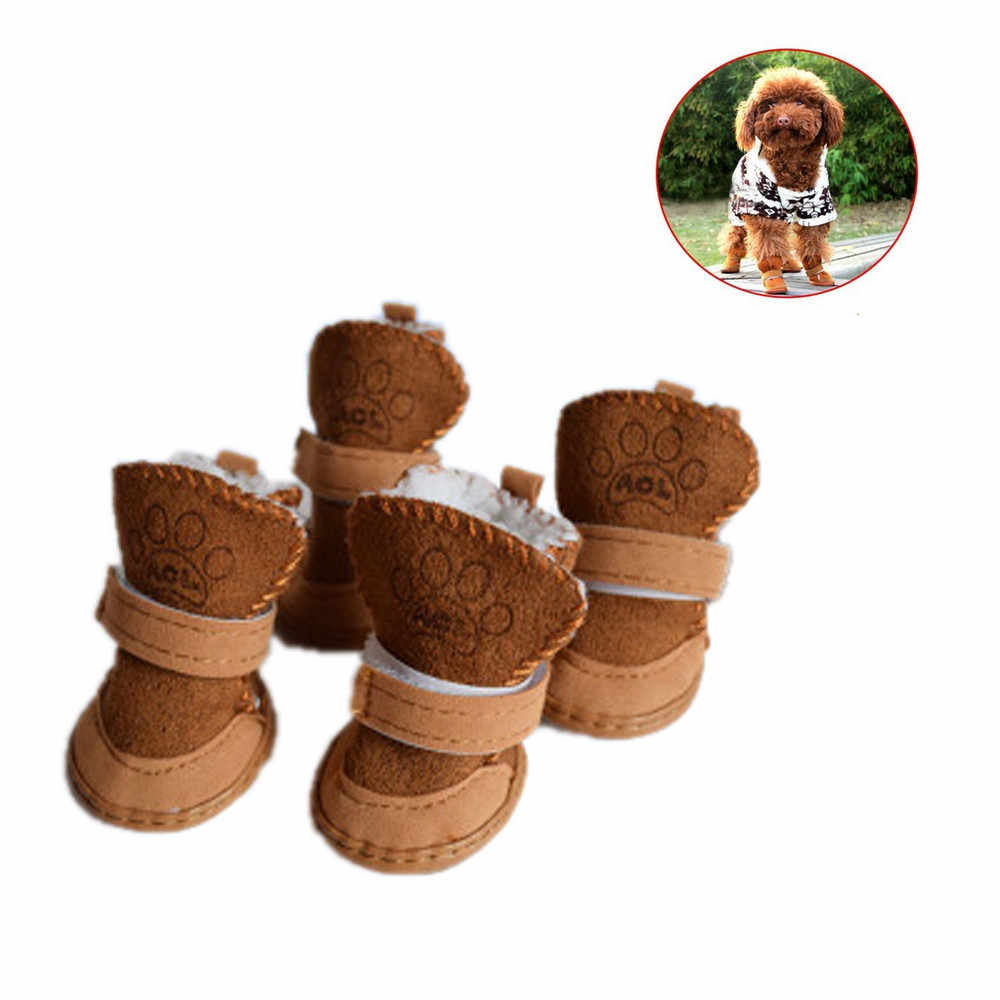 S-XXL Winter Warm Shoes for Dogs 4Pcs/Set Cute Dog Boots Snow Walking Cotton Blend Puppy Sneakers Pet Supplies