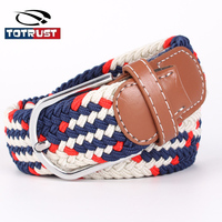 Korean Edition Tide Female Model Of Elastic Stretch Woven Canvas Belt Color Belt