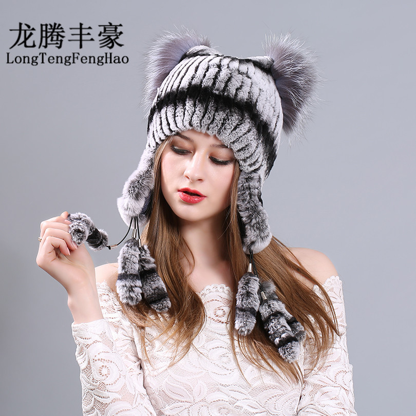 Russian hat cap women Rabbit fur hats women cap warm 2017 winter 100 Natural fur beanies