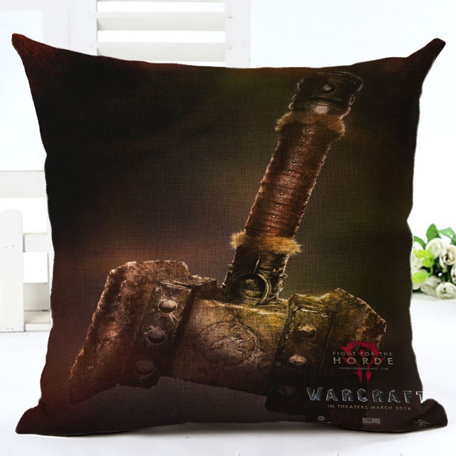 2016 WOW Warcrafted movie The ALLIANCE And HORDE Doomhammer Throw Pillow Case Home Sofa  Backrest Decoration Cushion Cover 3D