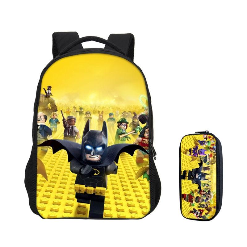VEEVANV 2 PCS SET Backpacks For Boys Girls Bookbag Cartoon Lego ... df870f01c21e2