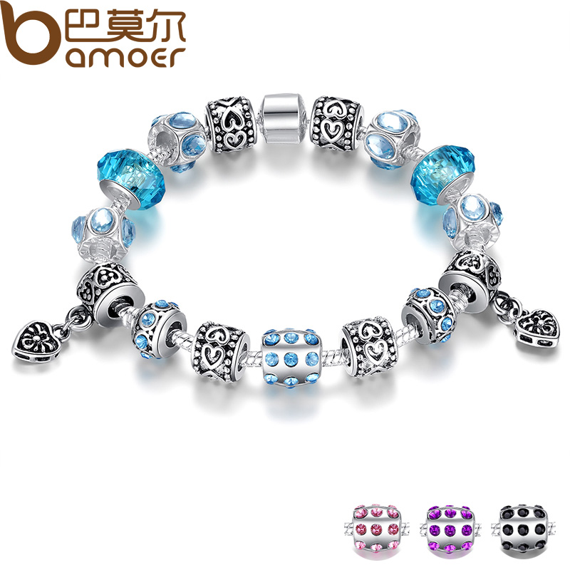 Blue Charm Bracelet: BAMOER Hot Sell European Style Silver Crystal Charm