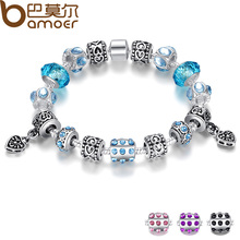 BAMOER Hot Sell European Style Silver Crystal Charm Bracelet for Women With Blue Murano Glass Beads