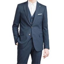 Business Men Formal suits Custom Made Dark Blue Notched Lapel Men Suits For Wedding Men Slim Fit Suits (jacket+pants+vest)