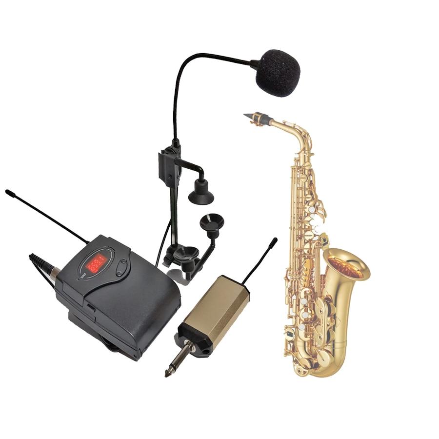 PGA98H Saxophone trumpet wireless microphone system brass instrument gooseneck mic UHF transmitter receiver set rechargeable