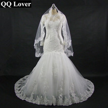 2017 New Arrival Mermaid Long Sleeves Wedding Dress With Veil Gift Appliques Bridal Gown Custom Size Plus Size Vestido De Noiva