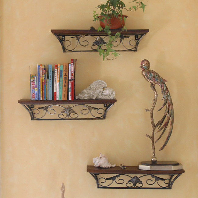 3pcs Iron home wood decorative wall mount shelf organizer mural wall ...