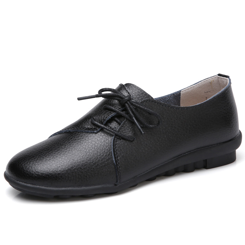 Woman Loafers Flat-Shoes Genuine-Leather Moccasins Ballet-Flats Spring Autumn New Casual