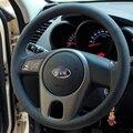 Black Artificial Leather DIY Hand-stitched Steering Wheel Cover for Kia Forte Kia Soul Kia Rio 2009-2011
