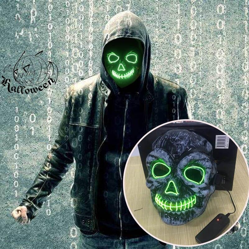 LED Licht Maske Up Lustige Maske von Die Purge Wahl Jahr Große für Festival Cosplay Halloween Kostüm 2018 Neue Jahr partei Maske