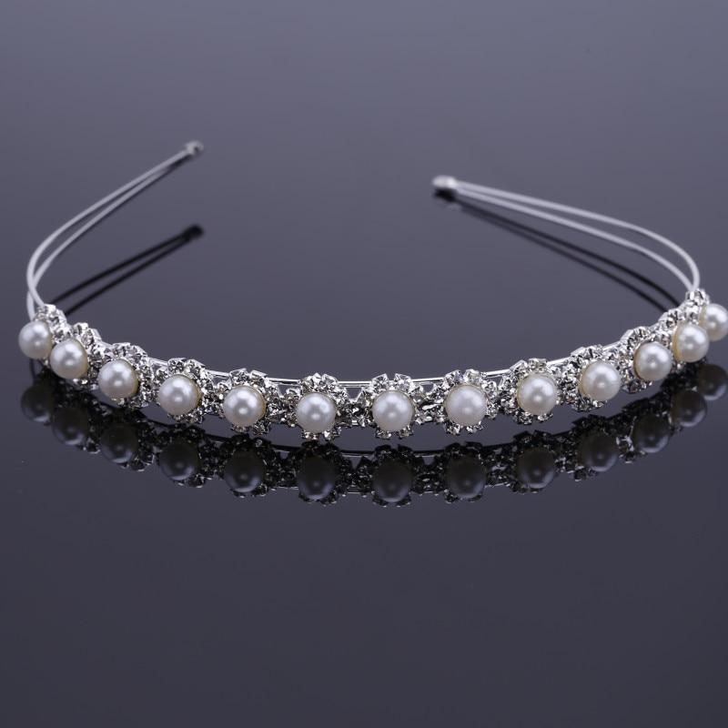 1PCS Crystal Pearl Silver Plated Bridal Lady Head Band Crown FASHION
