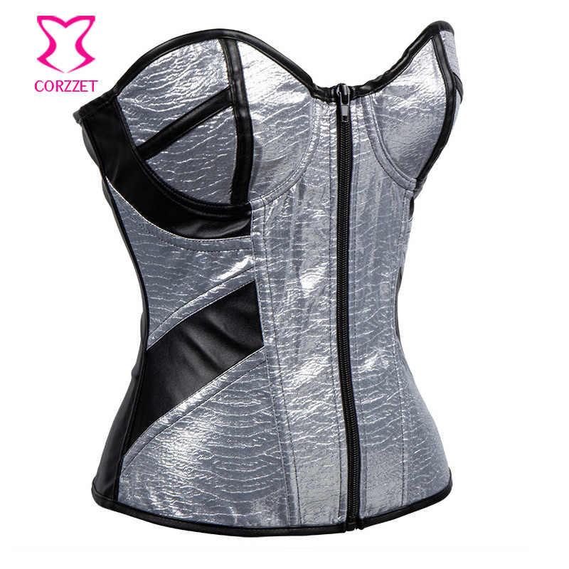 4241de743555f ... Zipper Silver PVC & Black Leather Bustier Sexy Lingerie Corset Gothic  Clothing Women Espartilhos E Corpetes ...