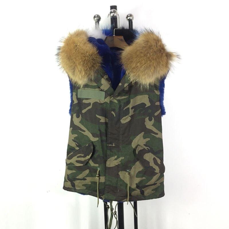 Manteau Fourrure Taille Plus La Camouflage Qualité Veste Gilet Bonne Manches Facoty De Top Sans Bleu gTqSfT