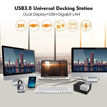 Universal Docking Station Wavlink External USB 3.0 Dual Video DisplayLink USB HUB Full HD 1080P 2048x1152 DVI HDMI FOR LAPTOP PC