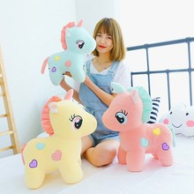 Best selling kawaii unicorn pony plush toy pink / blue / yellow love unicorn plush doll hanging ornaments children's toys gifts(China)