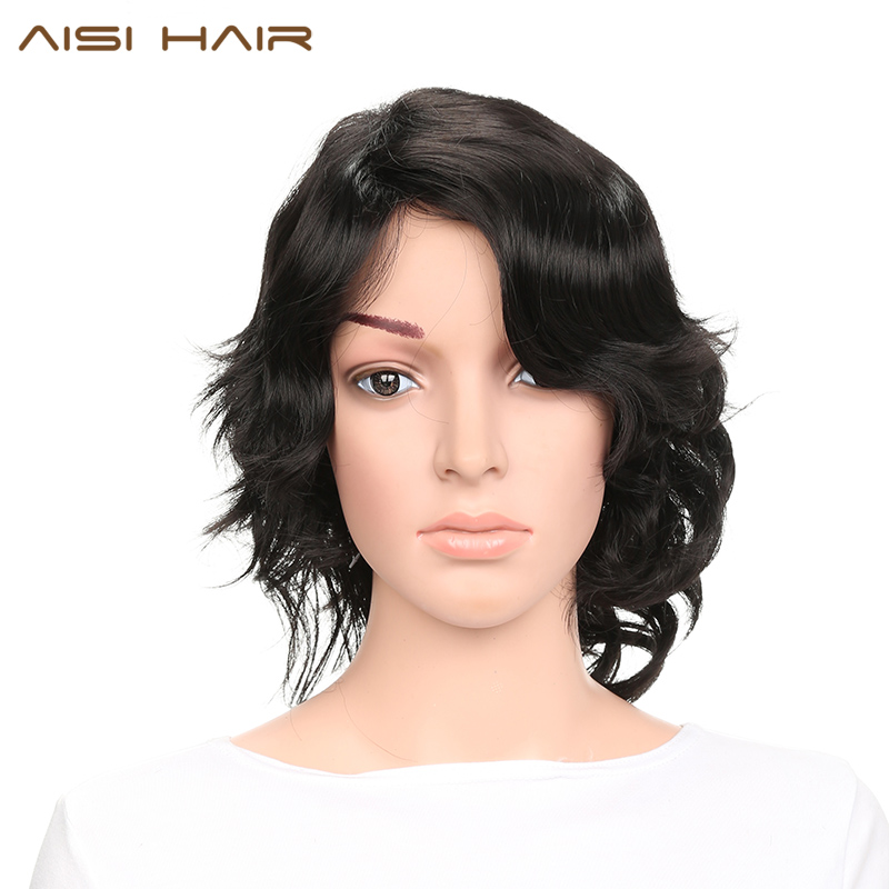 AISI HAIR Synthetic Short Wigs for Women Black Curl Hair With Side Bangs Hairstyle