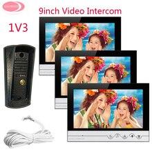 Promo offer 9 inch Home Video Door Phone Video Intercom 3 Monitors With Metal Waterproof IR Night Vision Camera Color LCD Video Intercom Kit