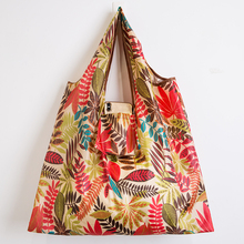 2019 Fashion printing foldable green shopping bag Tote Folding pouch handbags Convenient Large-capacity storage bags