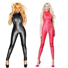 플러스 사이즈 여성 섹시 란제리 가짜 가죽 나이트 클럽 의류 바디 수트 성인 라텍스 pvc catsuit 지퍼 가랑이 에로틱 란제리