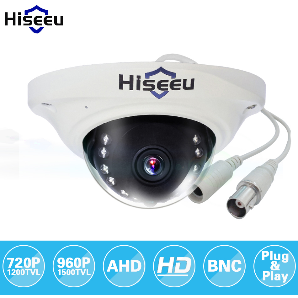 Hiseeu AHD 720P 960P IR Mini Analog CCTV Camera Dome AHD Camera Indoor IR CUT Night Vision Plug and Play freeshipping AHCR7 zilnk security analog hd 960p ahd camera night vision indoor ir 20m 3 6mm lens ir cut filter dome cctv camera