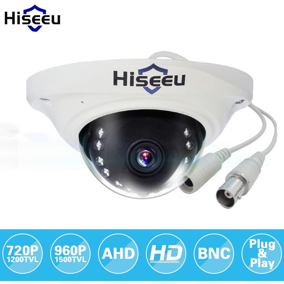 цена на Hiseeu AHD 720P 960P IR Mini Analog CCTV Camera Dome AHD Camera Indoor IR CUT Night Vision Plug and Play freeshipping AHCR7
