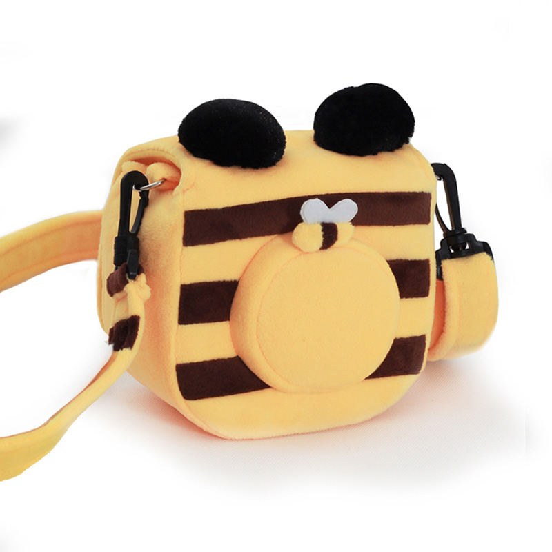 Generous Roadfisher Yellow Bee Handmade Camera Bag Insert Case Pouch Strap Fit Polaroid Fuji Instax Mini 7s 8 25 90 50s 210 Hello Kitty