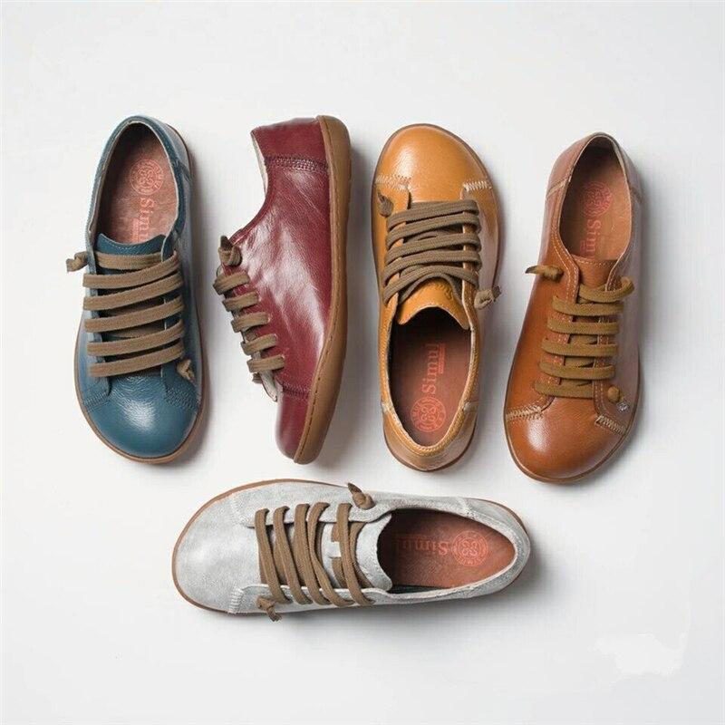 Chaussures d'été femme baleriny sans lacet femme chaussures plates printemps femme cuir décontracté groupe pieds nus chaussures sneakers