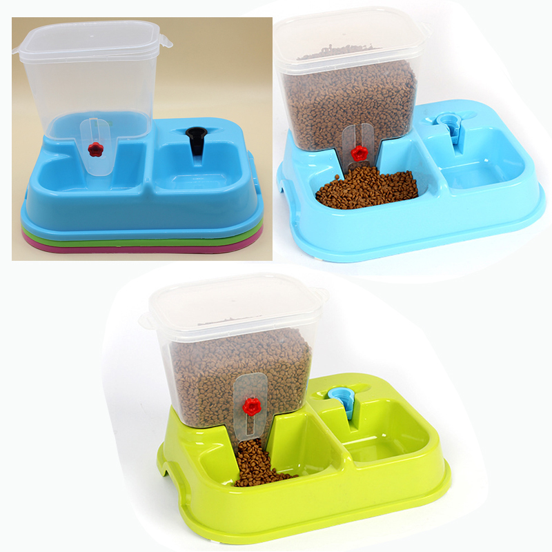 Fashion dog cat bowl feeder bowl <font><b>water</b></font> dispenser Pet feeder Dual automatic pet feeding <font><b>and</b></font> watering is automatic <font><b>water</b></font> feeder