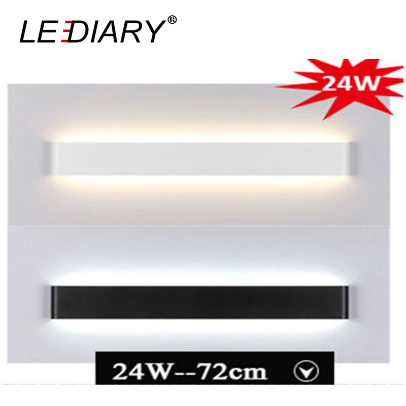LEDIARY New Fashion Aluminum LED Bar Light Wall Mounted in Bathroom 24w 72cm Long White/Black Colors 100-240v CE RoHS the ivory white european super suction wall mounted gate unique smoke door