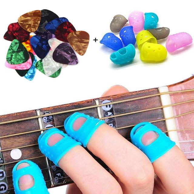 4 unids/set cuerda de guitarra Protector de dedo Protector de silicona protección de dedo ukelele guitarra Protector de dedos