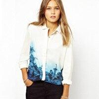 New Fashion Women S Elegant Long Sleeve Lapel Shirts Blue Flower Printing Chiffon Slim Casual Loose