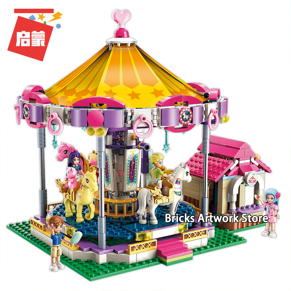 Fit Friends Series Qman 646pcs 2016 Colorful Holiday Carousel Fantasy Mini figures Set Building Blocks Toys Girls Creative Gift image