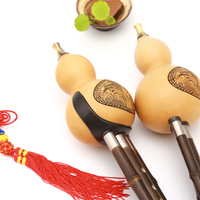 New Chinese Traditional Hulusi Gourd Cucurbit Flute C/Bb Yunnan Professional Ethnic Musical Instrument with Chinese Knot Gifts